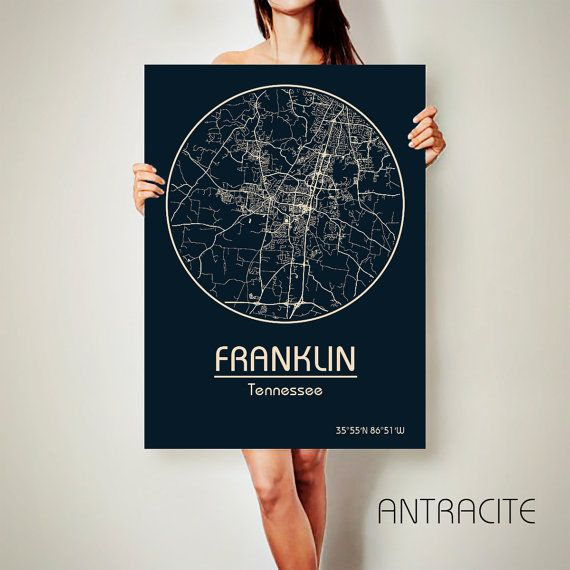 FRANKLIN Tennessee CANVAS Map Franklin Tennessee by ArchTravel