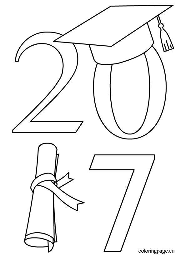 2017 Graduation Coloring Page | Graduation clip art ...