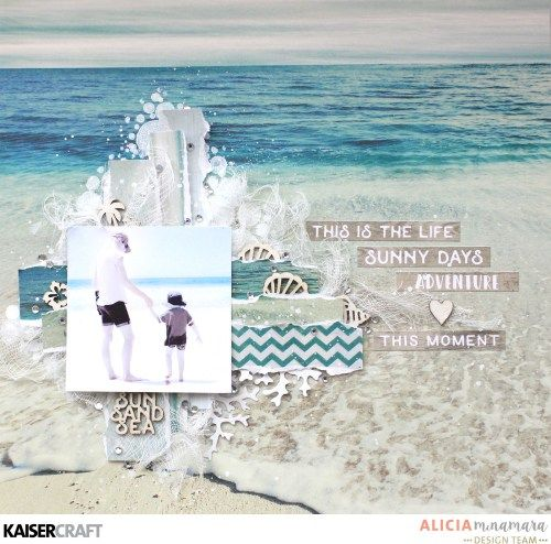 'This is the Life' Layout by Alicia McNamara Design Team member for Kaisercraft featuring their 'Island Escape' collection and 'Bubbly' Mini Template (Feb.2017) Saved from kaisercraft.com.au/blog ~Wendy Schultz ~ Scrapbook Layouts