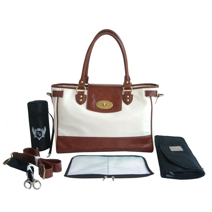 Real leather baby changing bag with all accessories.