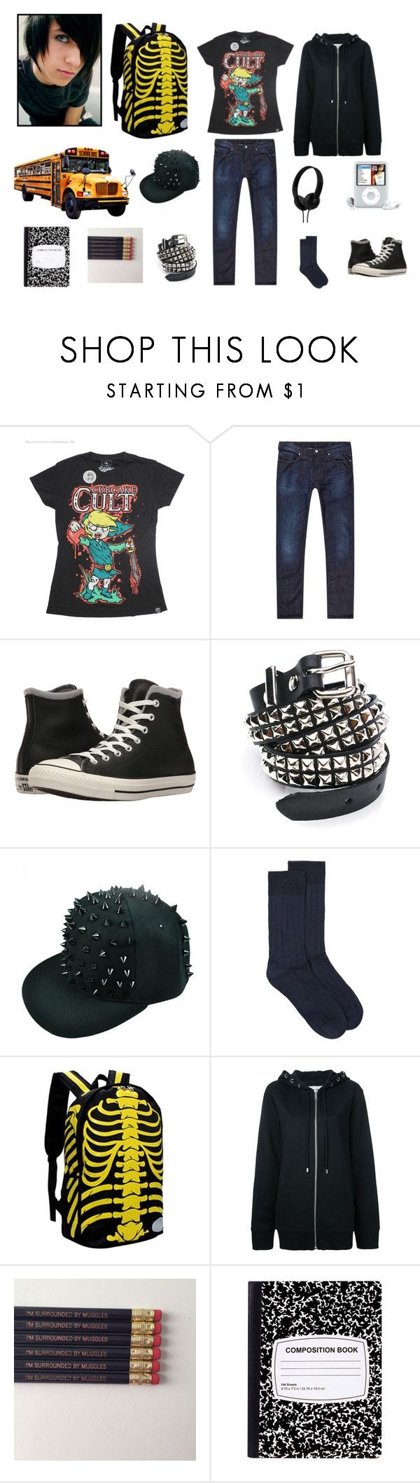 Emo Schoolboy outfit by ghostmanl on Polyvore featuring Armani Jeans, Topman, Converse, Public School, Funk Plus, Skullcandy, men's fashion and menswear
