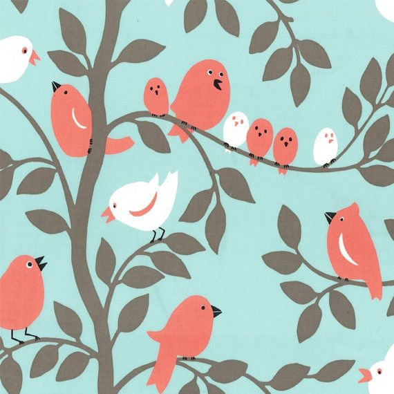 Fat Quarter Tweetie Pie Bird Aqua Quilting Fabric - Michael Miller