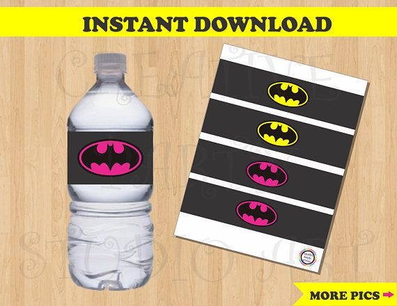 **********Printable/ Digital File********** This Digital file includes: - A single sheet (PDF file) with a total of 4 Bottle Labels (2 Batman and 2 Batgirl labels) *Each Bottle Label measures: 8.5 in x 2 in. You may print as many times as you need! Instructions: Purchase this