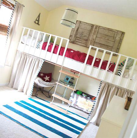 Loft bed hanging bunk bed suspended bed hanging bed kids for Suspended beds for kids