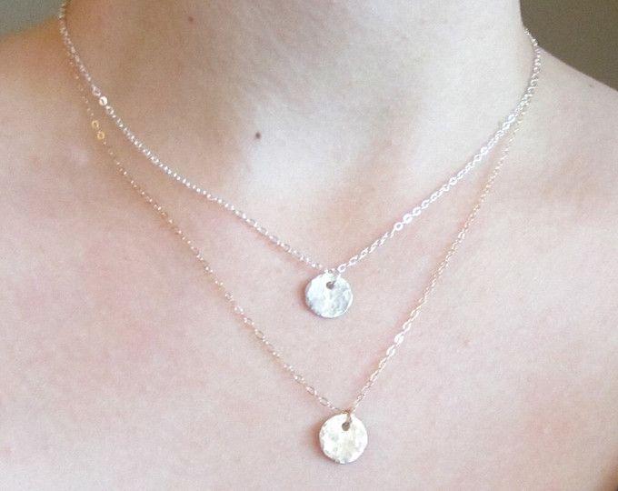 Doppelstrang Halskette geschichtete Halskette Gold gehämmert