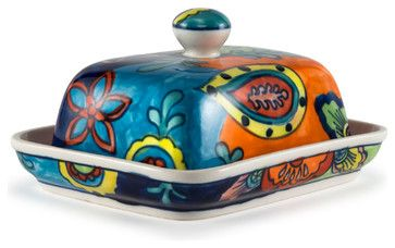 """Hand-Painted Paisley Ceramic Butter Dish, 6.5""""Lx5""""Wx3""""H, Paisley contemporary-butter-dishes"""