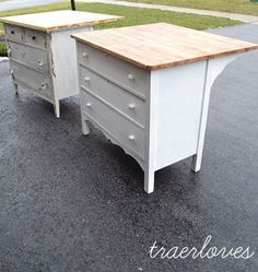 Using a dresser to make a kitchen island!  Love this idea! by sylvia