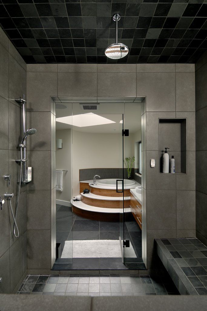 The Armada House by KB Design.  Victoria BC - Ten Mile Point.  Walk in Shower