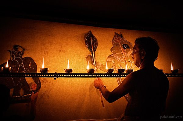 Tholpavakoothu (Shadow puppetry)   Trivandrum, Kerala, India  Tholpavakoothu is a type of traditional shadow puppetry from Kerala dedicated to Goddess Bhadrakali. It is performed in Koothu Madam using leather puppets.