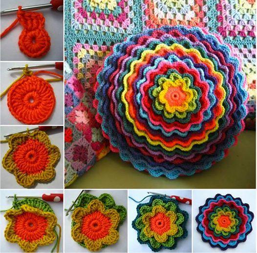 Pretty flower cushion Free pattern . #diycraft #crochetpattern