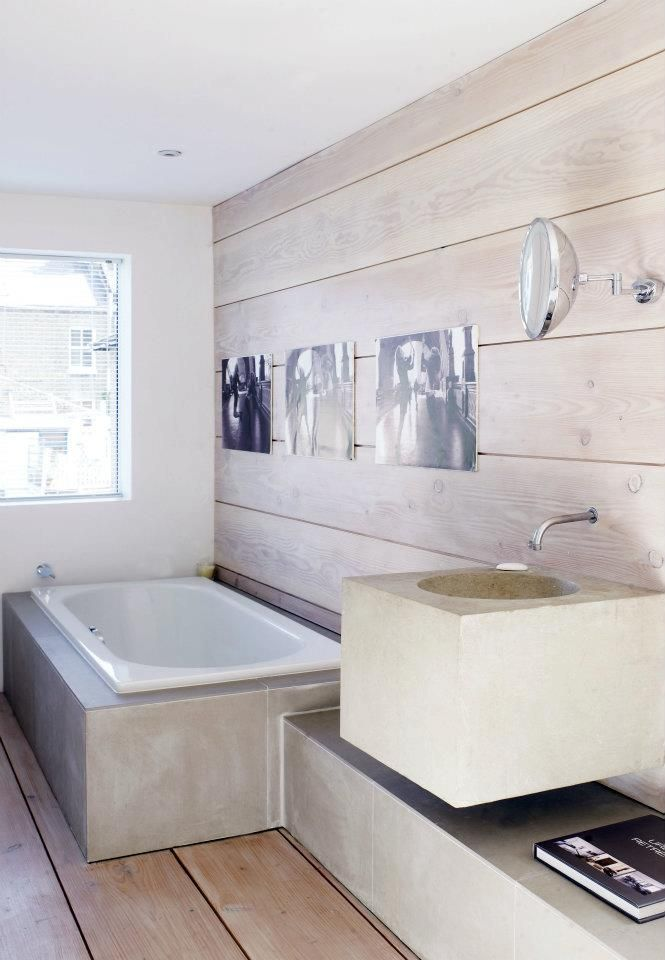 wall panelling floorboards + concrete