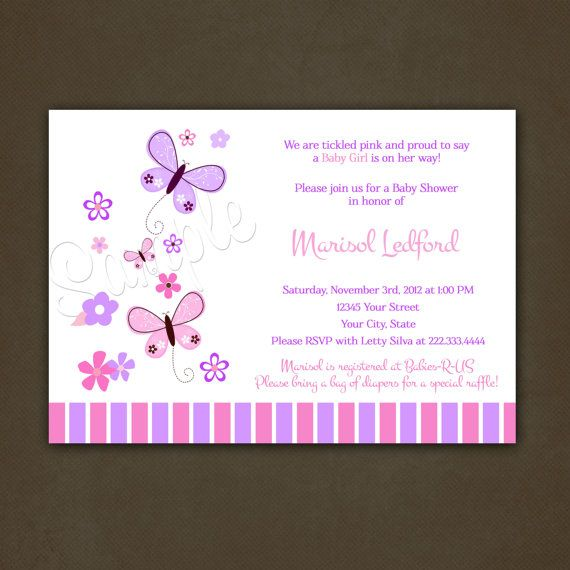 Pink and Purple Butterflies Baby Shower by PinkSkyPrintables, $12.00