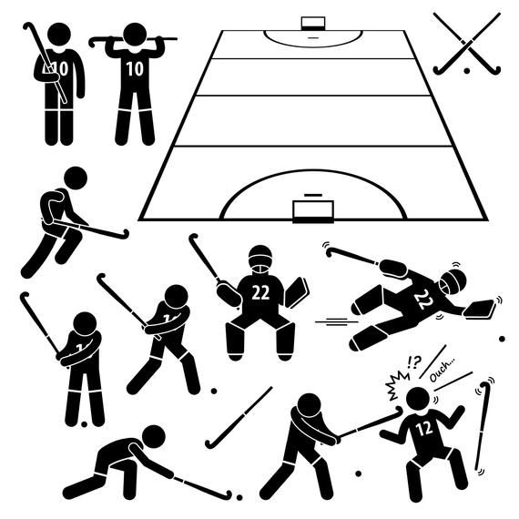 Field Hockey Player Actions Poses Goal Goalie Goalkeeper Hockey Stick Hockey Field Sport Game Download Stick Figure Icons Png Svg Vector In 2020 Action Poses Stick Figures Poses