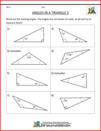 math worksheets for fifth graders angles in a triangle 2 ...
