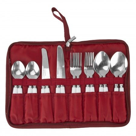 4 person camp cutlery set in convenient zip pouch.