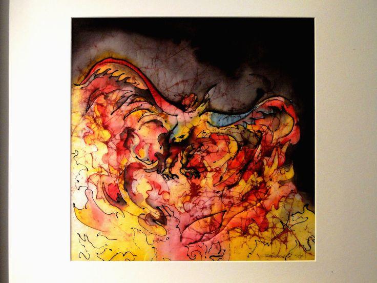 Artist: Gunseli Toker  / 35x35  textile (batik on silk) Simurg/ Zumrud-u Anka/Phenix