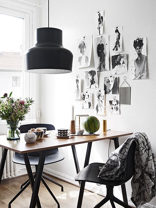monochrome dining area