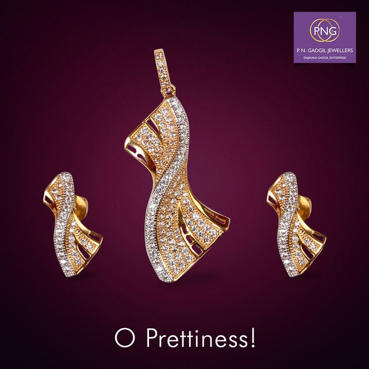Brilliant diamonds sprinkled over precious gold! Try on this pendant set and experience the glow at your neaarest PNG store. #jewellery #pngadgil #pendants