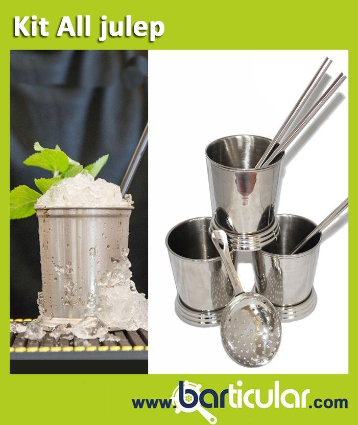 Tutti gli accessori per preparare il cocktail Mint Julep: julep cup, cannuccia in metallo, julep strainer. Solo su www.barticular.com