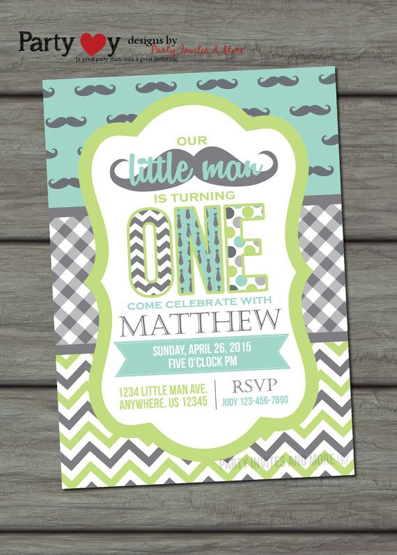 Little Man Birthday Invitation Mustache by PartyInvitesAndMore