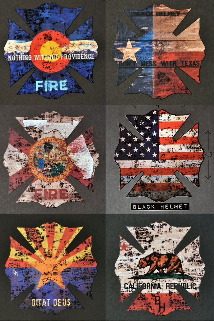 High quality firefighter decals | Black Helmet