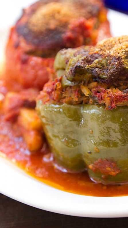 GEMISTA – GREEK STUFFED TOMATOES AND PEPPERS WITH RICE