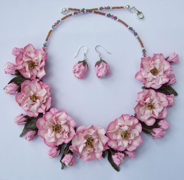 Cherry Blossom Necklace set, hand made from Polymer Clay by Fiona Abel-Smith