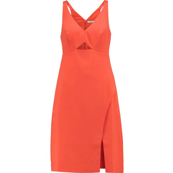 Halston Heritage - Cutout Crepe Dress (864125 PYG) ❤ liked on Polyvore featuring dresses, bright orange, red dress, orange dress, sequin wrap dress, wrap dresses and orange sequin dress