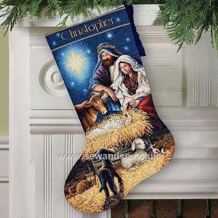 Buy Holy Night Stocking Cross Stitch Kit Online at www.sewandso.co.uk