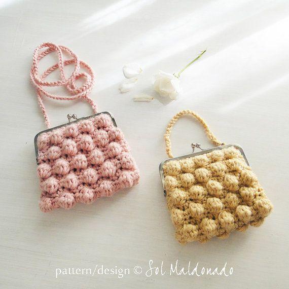 Clutch Crochet pattern Zoe bubble PDF easy PHOTO by bySol on Etsy