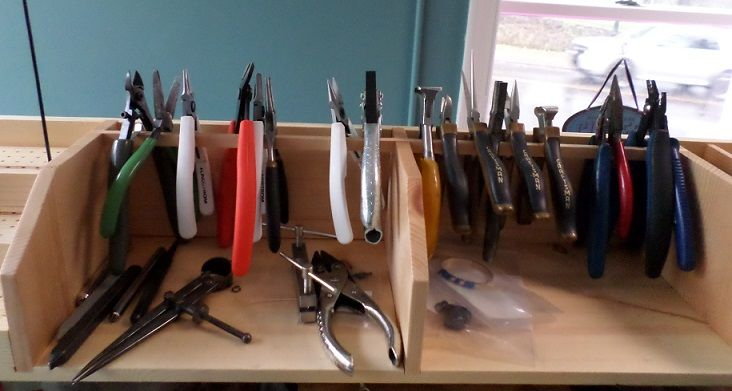 An assortment of pliers and other tools.  At Cowgirl Chile Co., Doylestown PA.