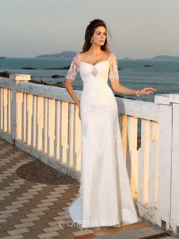 Sheath/Column Sweetheart Floor-Length Short Sleeves Applique Satin Wedding…