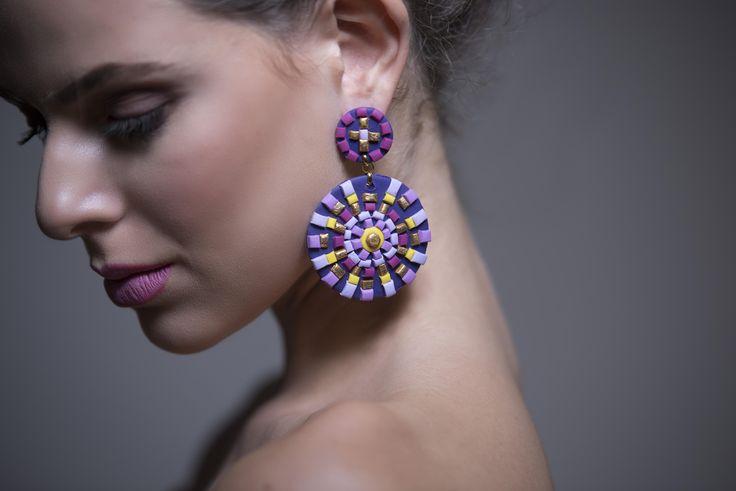 Bohemian chic, ethnic style purple earrings......