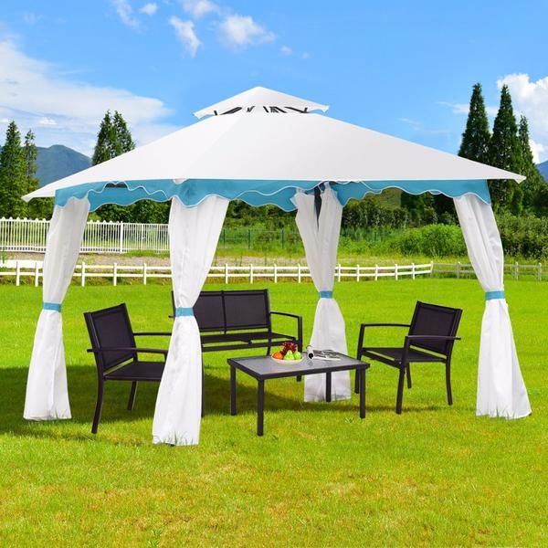 2 Tier 10 X10 Patio Gazebo Canopy Tent Steel Frame Shelter Awning W Side Walls Outdoor Canopy Outdoor Canopy Tent Gazebo Canopy