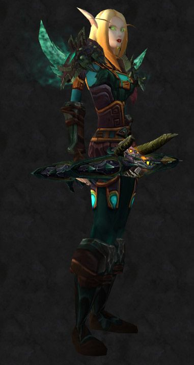 This particular set is hunter-only. Later, I will work to get a shaman-centric green based transmog up, as well as an Alliance-friendly version. (I am unfortunately a little tired and ill tonight.)...