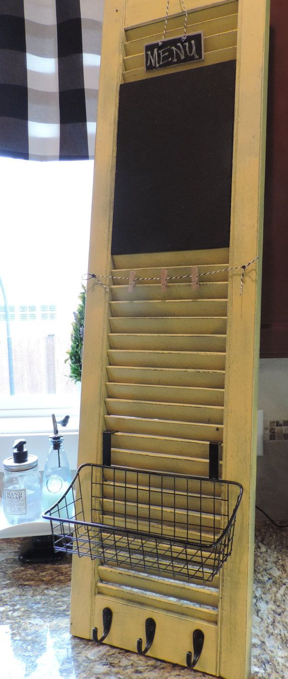 Old shutter turned kitchen command center by Huelabdesigns on Etsy