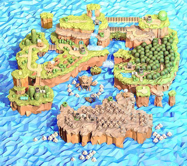 Super Mario World 3d Map Remake Papercraft Ideias De Papel De Parede Artistas