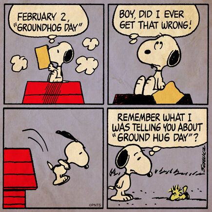 @Snoopy: Happy Groundhog Day!: Charli Brownsnoopi, Ground Hog, Comic Book, Snoopy Groundhogday, Groundhug, Happy Groundhog, Ground Hug, Peanut Gang, Groundhog Day