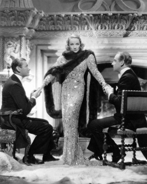 "Marlene Dietrich, Melvyn Douglas and Herbert Marshall in ""Angel"", 1937."
