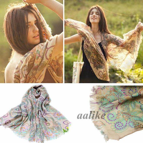 Bohemia Style Women Retro Fashion Totem Scarf Shawl Noble Soft Wrap Pashmina #Unbrand #ShawlWrap