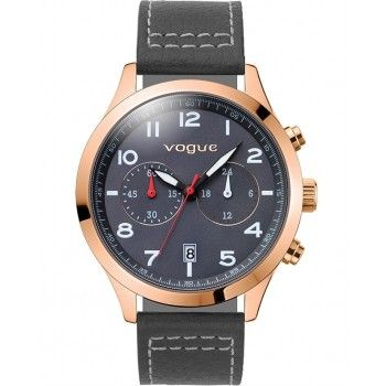 VOGUE Pirate Chronograph Rose Gold Grey Leather Strap 55031.6