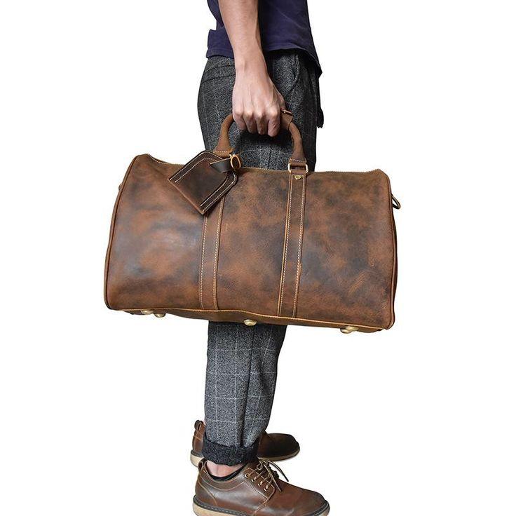 Genuine Leather Mens Cool Weekender Bag Travel Bag Duffle ...