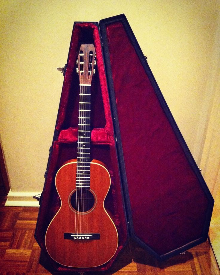 """Parlour guitar, all Mahogany...sweet mellow sound. Complete with velvet lined """"coffin"""" case."""