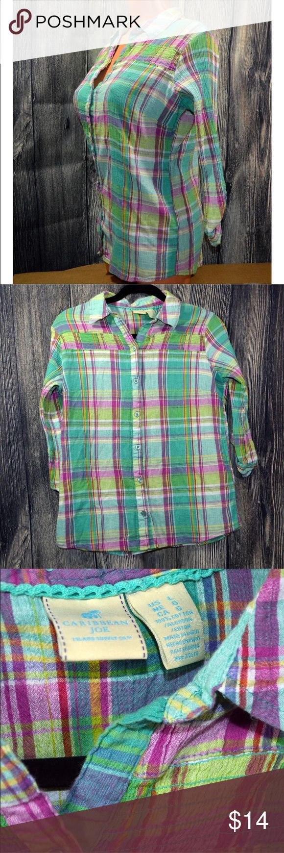 CARIBBEAN JOE Women's Large Button Down Plaid CARIBBEAN JOE Colorful  WOMEN'S  L Large  BUTTON DOWN  PLAIDS  TOP L   Country Casual Caribbean Joe Tops Button Down Shirts