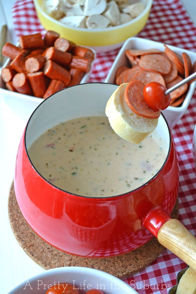 Easy Pizza Fondue. If you like pizza, you'll love this fondue! Dip what ever you like on your pizza! Anything goes! Interactive dinners are fun for the whole family!