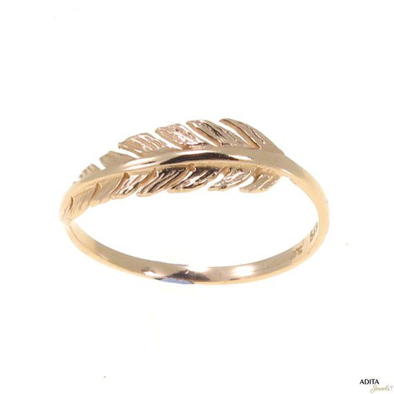 14K Solid Yellow Gold Feather Ring For Women Dainty Handmade Jewelry