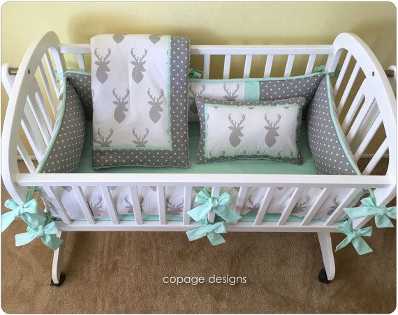 Gray and Mint DEER HEAD Baby Cradle Bedding Set by copagedesigns
