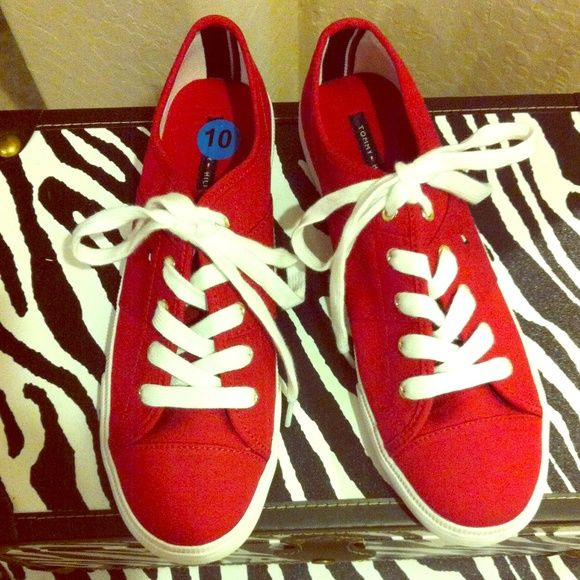 NWOT! Tommy Hilfiger Red Sneakers ⬇️REDUCED⬇️ NWOT Authentic Tommy Hilfiger Tango Red Sneakers. Hard to find color. Great Price too! No Trades. 2 Pairs are currently Available.  Tommy Hilfiger Shoes Sneakers