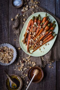 Honey Glazed Balsamic Carrots with Crushed Hazelnuts Recipe
