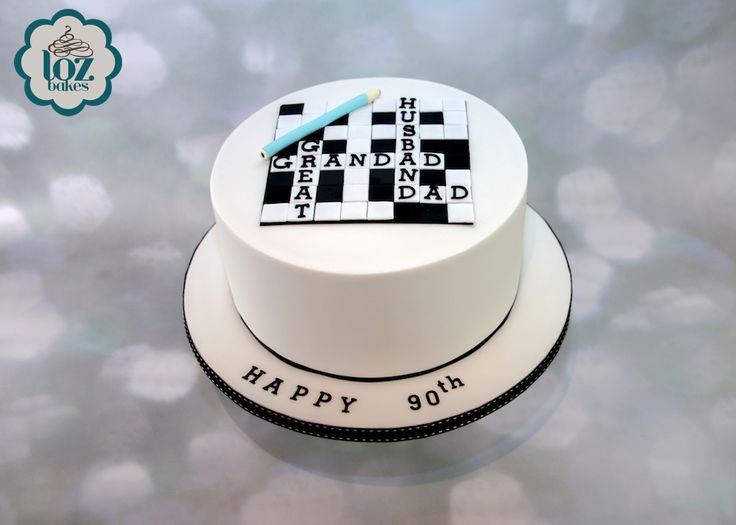 """A massive 10"""" lemon and white chocolate ganache cake for a special 90th birthday. Happy 90th Ralph for this week! Hope you liked the crossword design."""